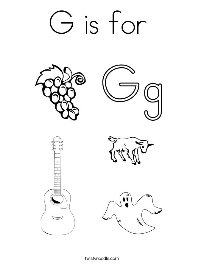 g is for coloring page twisty noodle. Black Bedroom Furniture Sets. Home Design Ideas