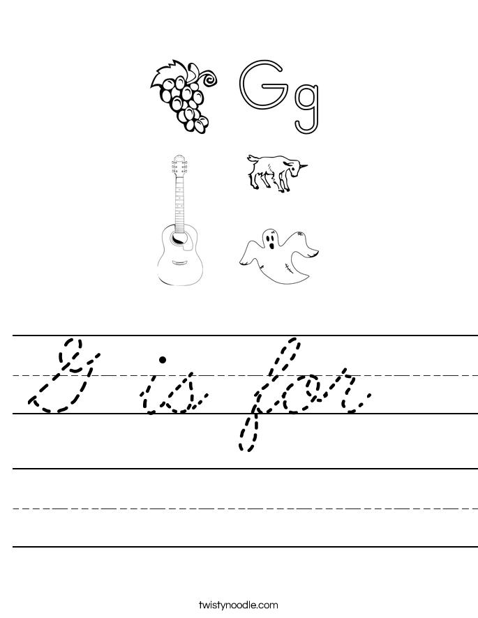 g is for worksheet cursive twisty noodle. Black Bedroom Furniture Sets. Home Design Ideas