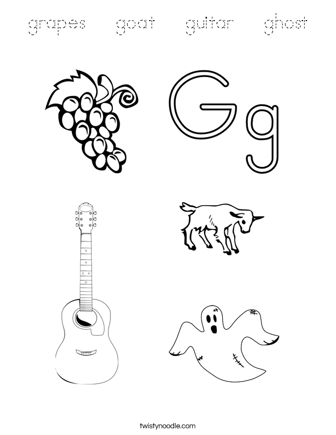 grapes goat guitar ghost coloring page tracing twisty noodle. Black Bedroom Furniture Sets. Home Design Ideas