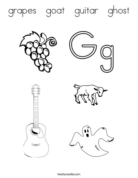 grapes goat guitar ghost coloring page