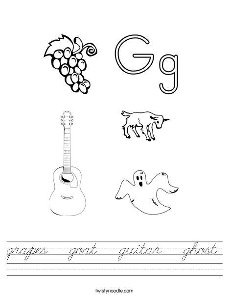grapes goat guitar ghost worksheet cursive twisty noodle. Black Bedroom Furniture Sets. Home Design Ideas