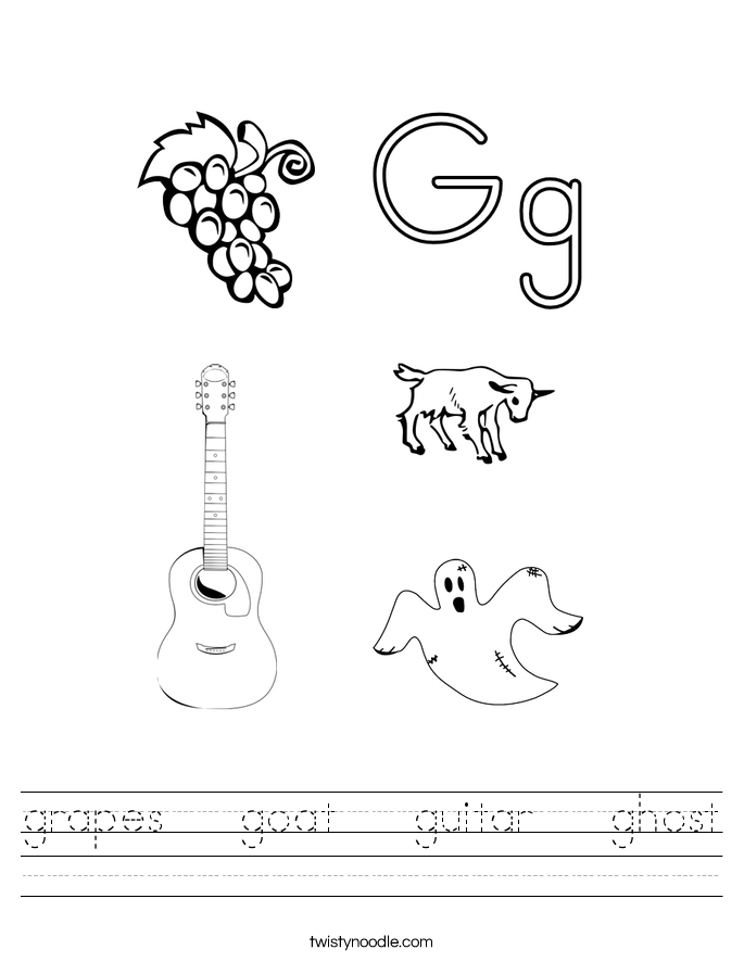 grapes   goat   guitar   ghost Worksheet