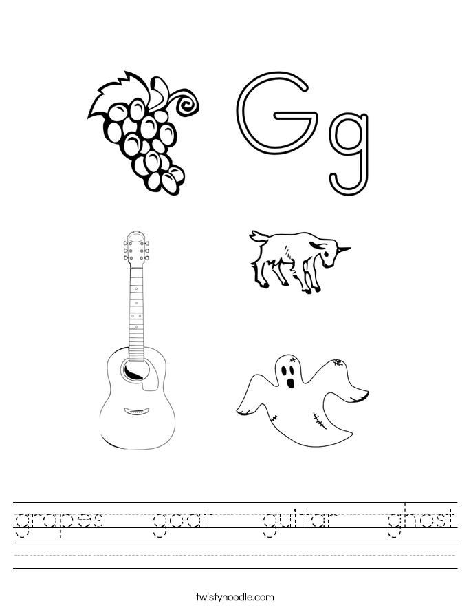 grapes   goat   guitar   ghost Worksheet