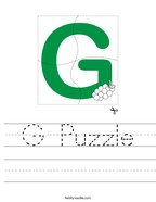 G Puzzle Handwriting Sheet