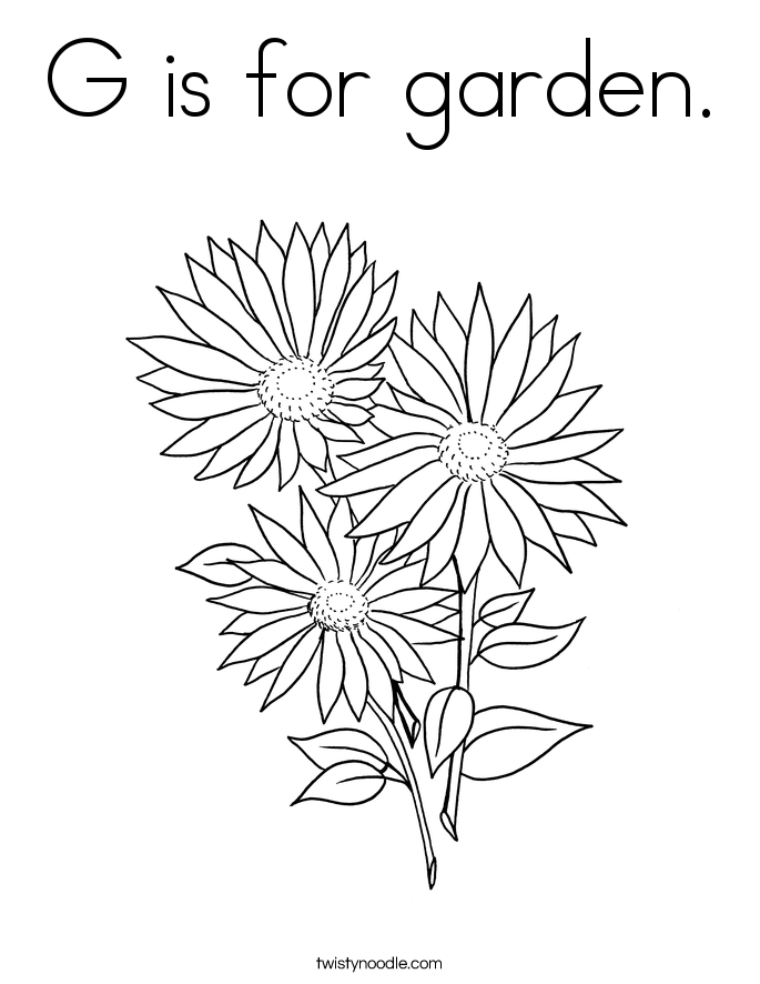 G is for garden. Coloring Page