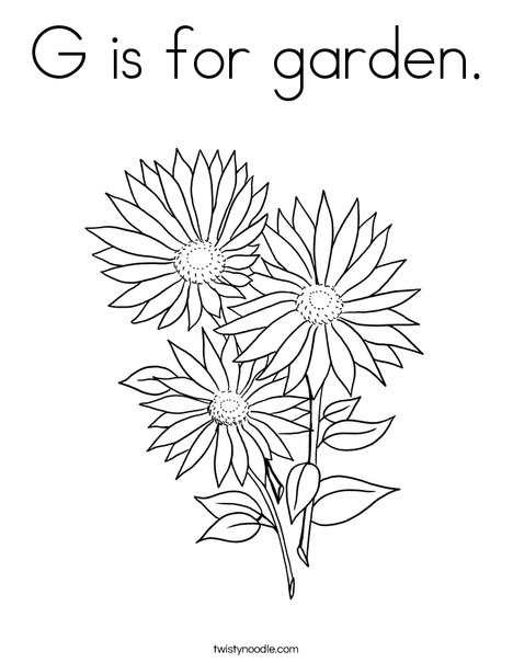 G is for garden Coloring Page , Twisty Noodle