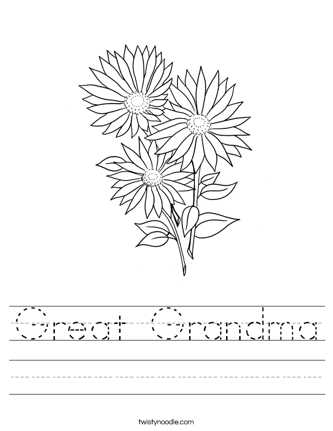 Great Grandma Worksheet