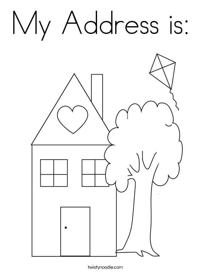 My Address is:  Coloring Page