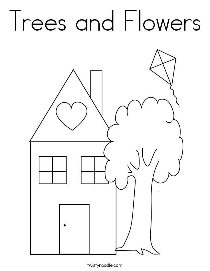 Trees and Flowers Coloring Page