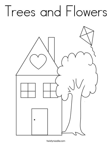 trees coloring pages Trees and Flowers Coloring Page   Twisty Noodle trees coloring pages