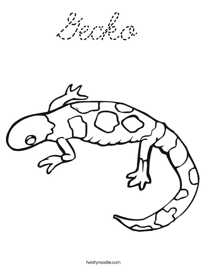 Gecko coloring page cursive twisty noodle for Cursive coloring pages