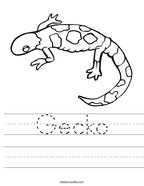 Gecko Handwriting Sheet