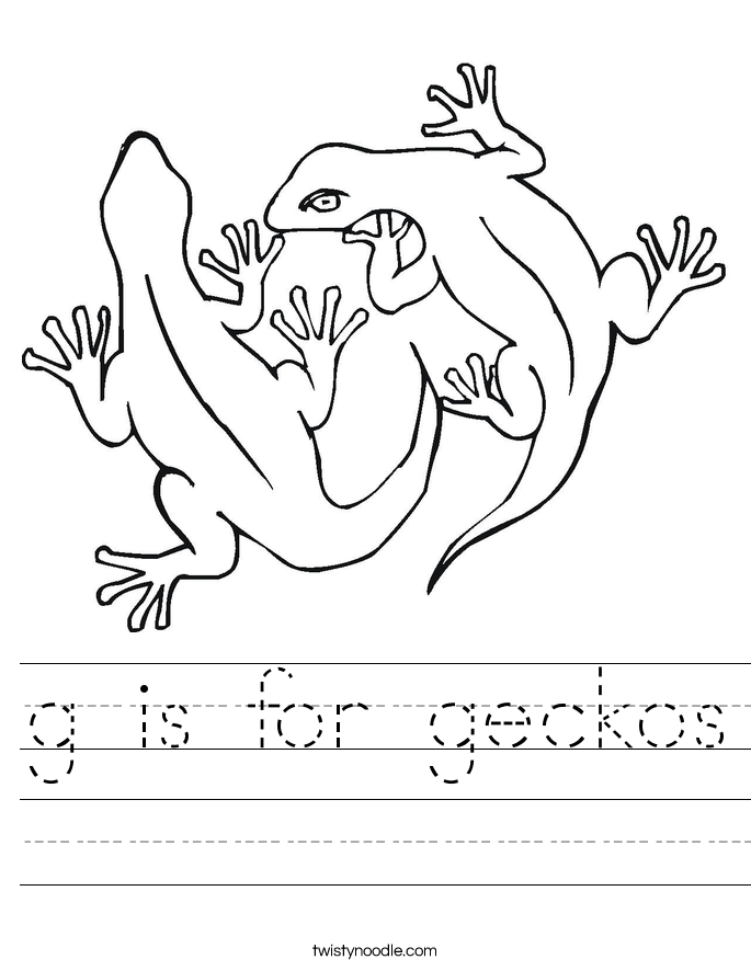g is for geckos Worksheet