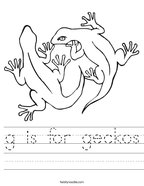g is for geckos Handwriting Sheet