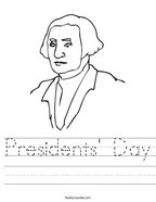 Presidents' Day Handwriting Sheet