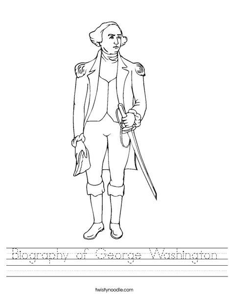 photograph about George Washington Printable Worksheets called Biography of George Washington Worksheet - Twisty Noodle