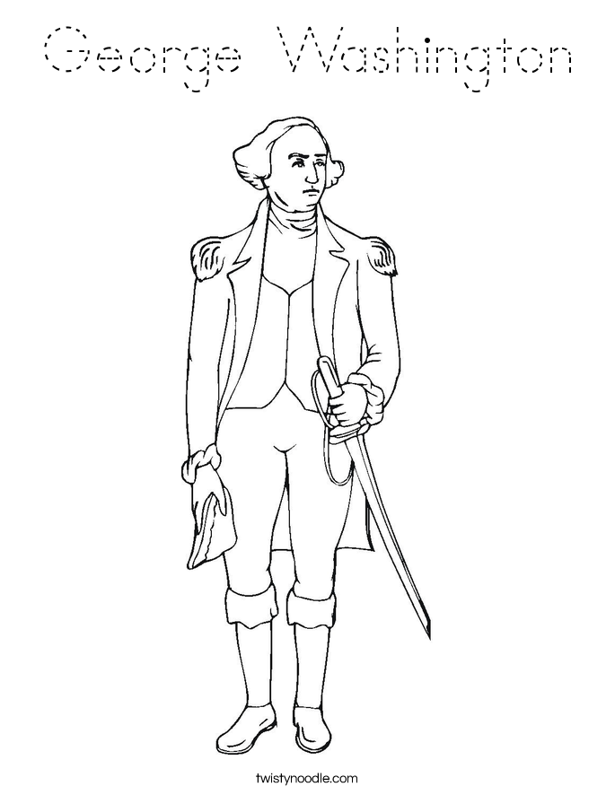 George Washington Coloring Page Tracing Twisty Noodle