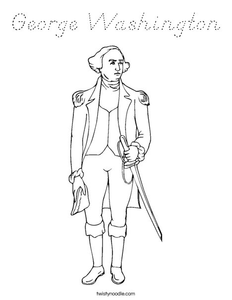 George Washington Standing Coloring Page