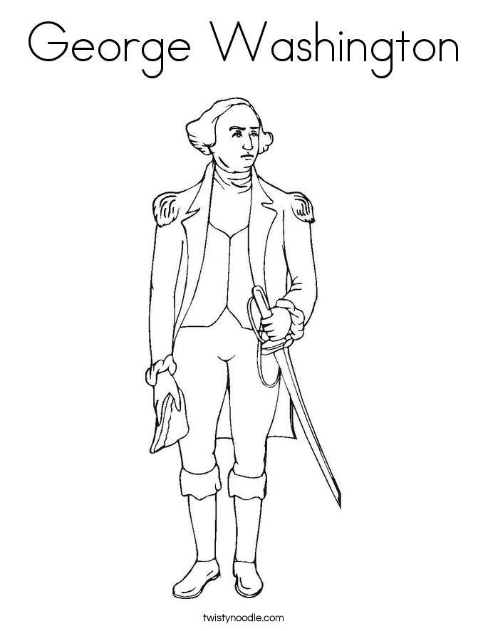 George Washington Coloring Page Twisty Noodle