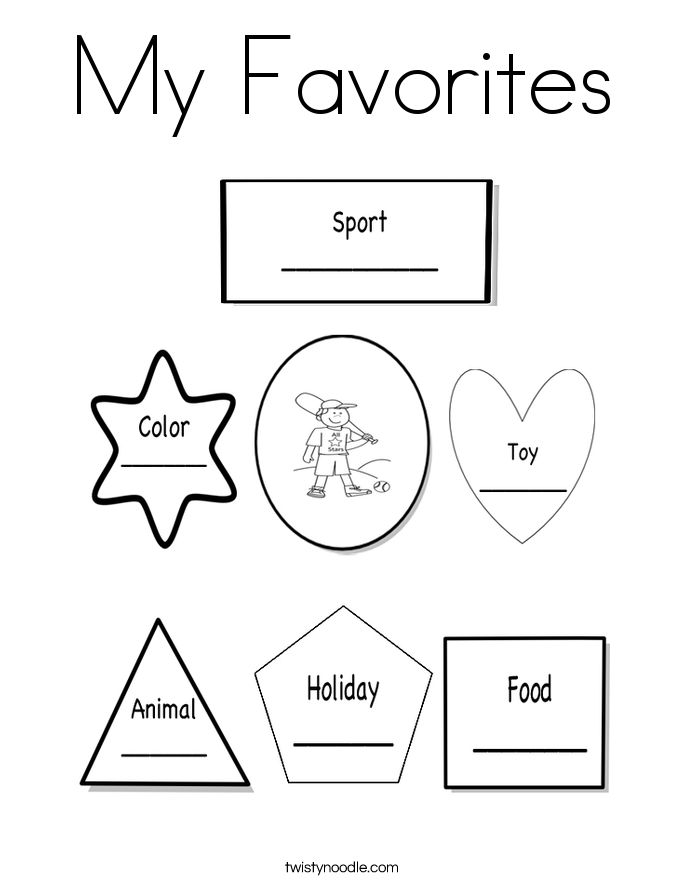 My Favorites Coloring Page