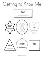 Getting to Know Me Coloring Page