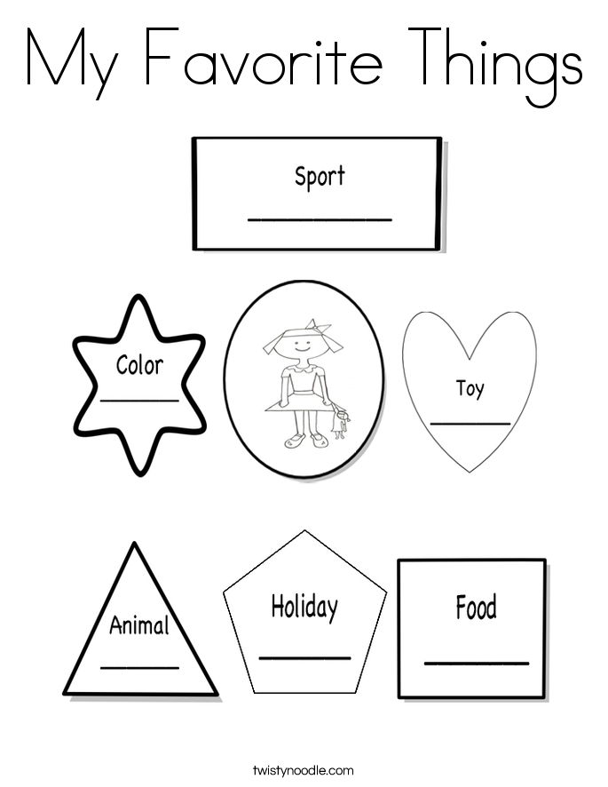 My Favorite Things Coloring Page