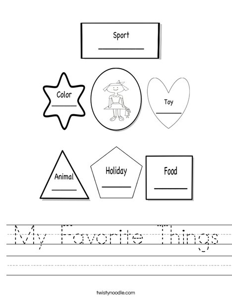 My Favorite Things 3 Worksheet on Handwriting Cursive