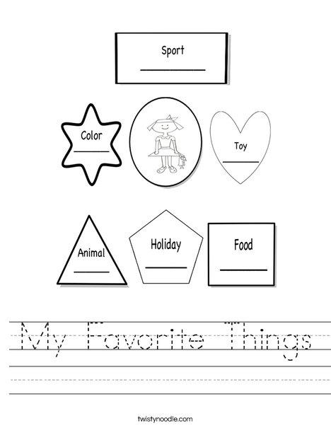 Favorite things worksheet | Carpe Diem Academy | Pinterest ...