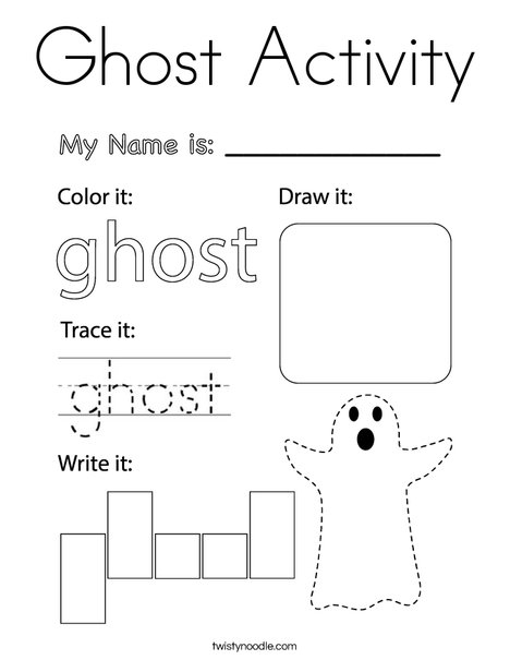 Ghost Activity Coloring Page