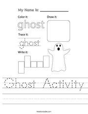 Ghost Activity Handwriting Sheet