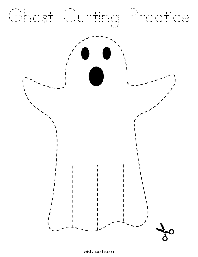 Ghost Cutting Practice Coloring Page