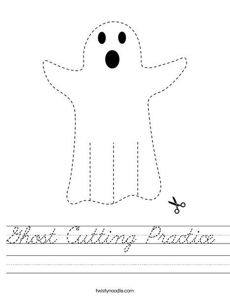 Ghost Cutting Practice Worksheet