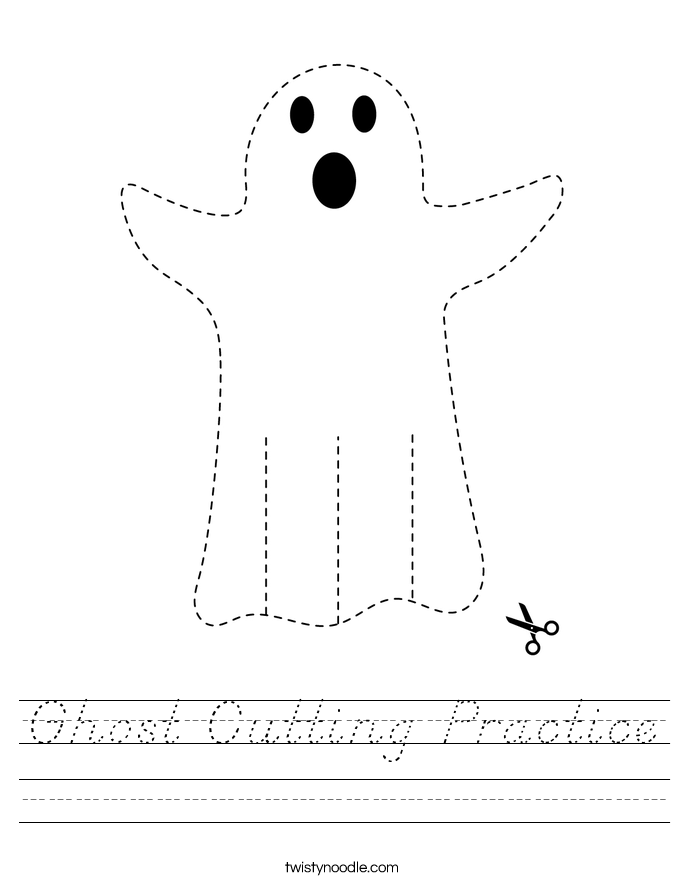 Ghost Cutting Practice Worksheet