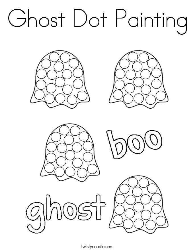 Ghost Dot Painting Coloring Page Twisty Noodle
