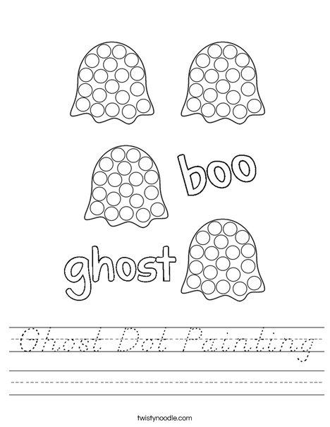 Ghost dot painting Worksheet