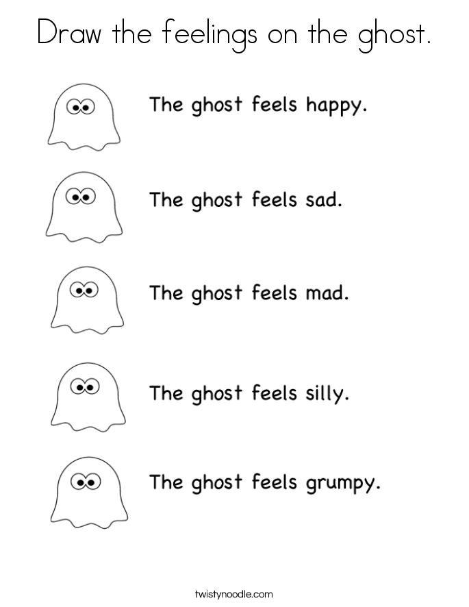 Draw the feelings on the ghost. Coloring Page