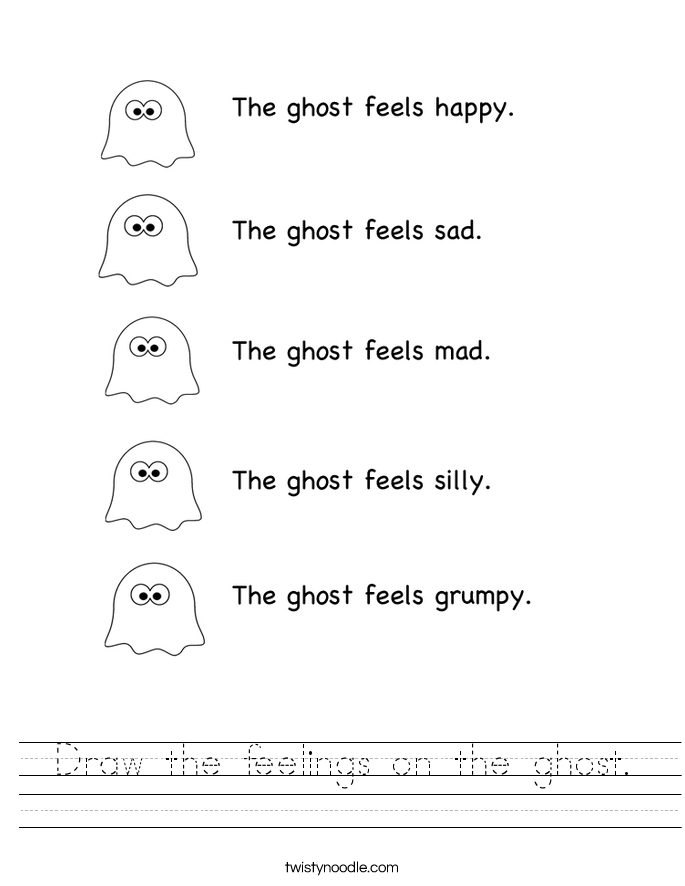 Draw the feelings on the ghost. Worksheet