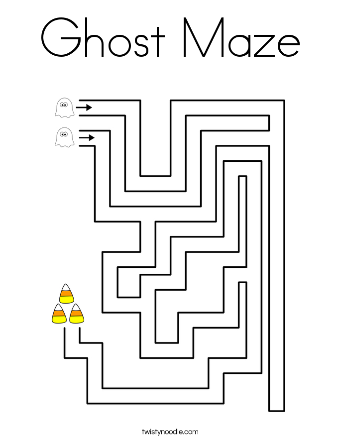 Ghost Maze Coloring Page Twisty Noodle