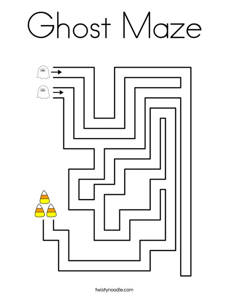 Ghost Maze Coloring Page
