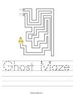 Ghost Maze Handwriting Sheet