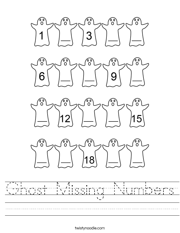 Ghost Missing Numbers Worksheet