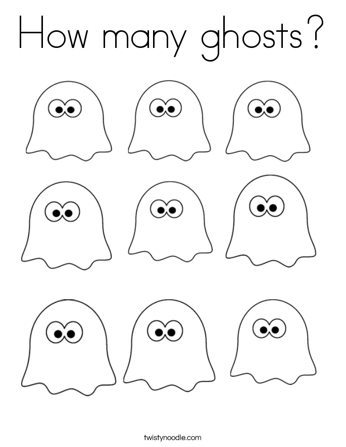 How many ghosts? Coloring Page
