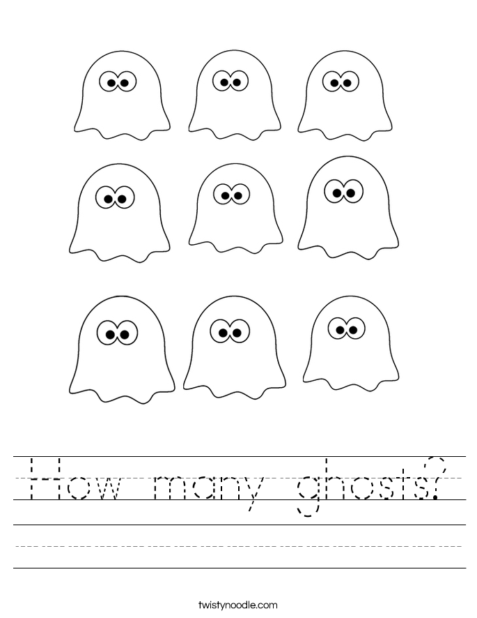 How many ghosts Worksheet - Twisty Noodle