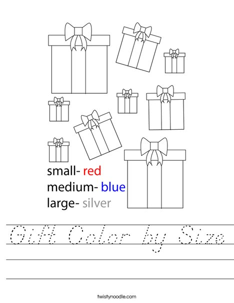 Gift Color by Size Worksheet