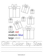 Gift Color by Size Handwriting Sheet