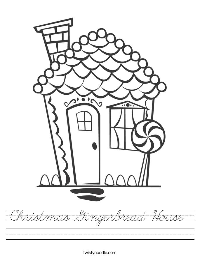 Christmas Gingerbread House Worksheet - Cursive - Twisty ...