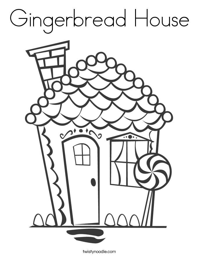 Gingerbread house coloring page twisty noodle for Gingerbread house coloring pages
