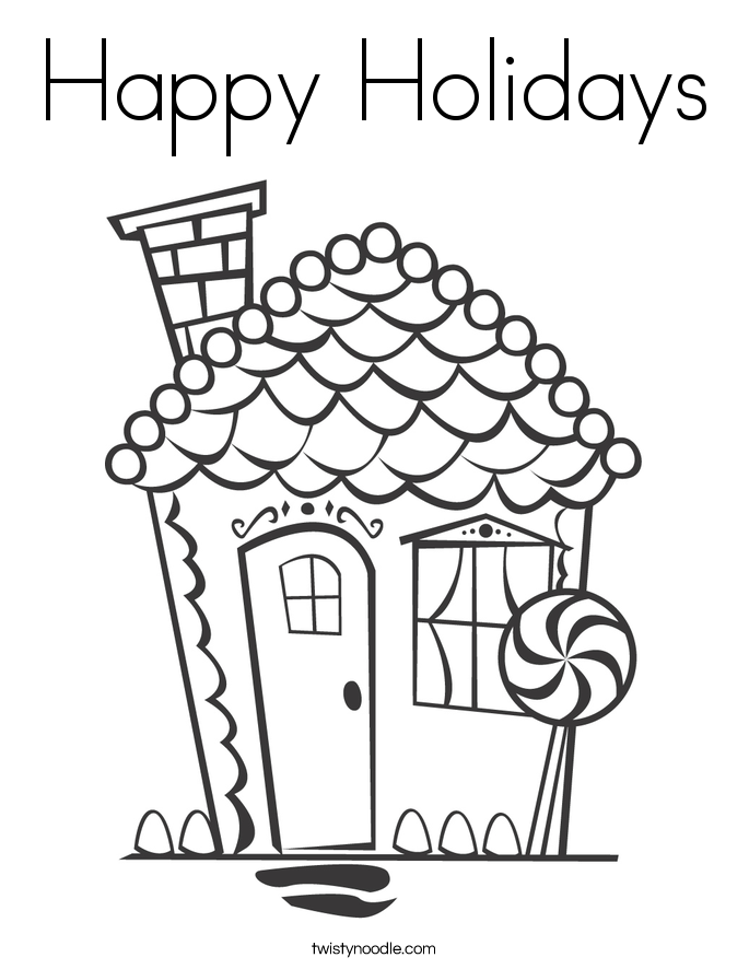 Happy Holidays Coloring Page - Twisty Noodle