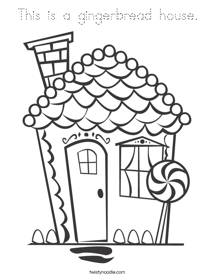 This is a gingerbread house. Coloring Page
