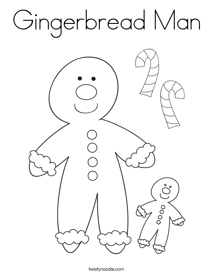 Gingerbread Man Coloring Page.